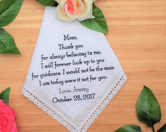 Mother of the Groom Handkerchief. Wedding Handkerchief. Embroidered Handkerchief. Gift  from Groom. Custom Handkerchief. Embroidered Hanky