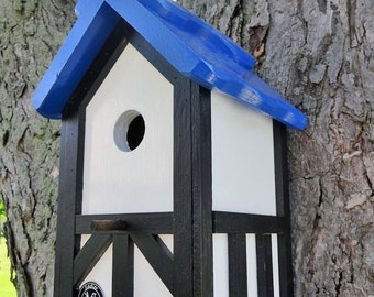 Outdoor wood, Painted Bird house/Nesting Box - Greek island blue roof, white body-ebony stained Tudor style- Made in USA fully functional