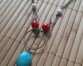 Soul Shine Necklace In Aged Brass w/Turquoise & Red Coral Gemstones-Blue-Folk-Hippie-Boho-unique-Chakra-Reiki-Girls-Hoop-Circle-West Coast