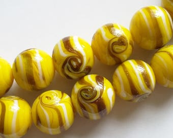 10pcs Yellow Lampwork Beads - Gold Glitter Beads - Yellow White Gold Beads - Handmade Beads - Focal Beads - Artisan Beads - SL022Y