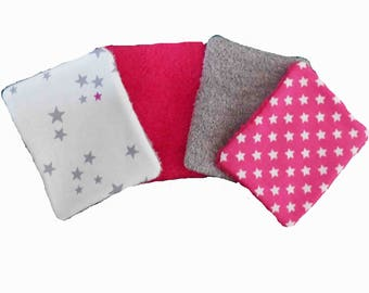Washable wipes, cotton and sponge pattern stars, set of 10
