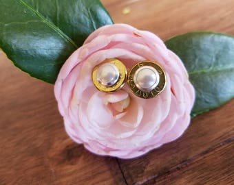 45cal. Pearl Bullet Earrings