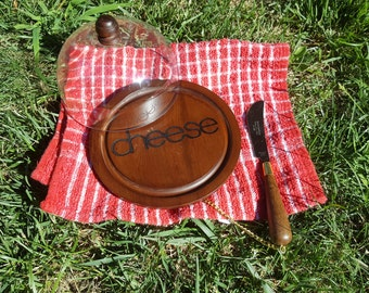 Vintage wood cheese board with dome and knife, plastic dome cheese tray for picnic, Shaw-Barton cheese board, picnic/glamping server