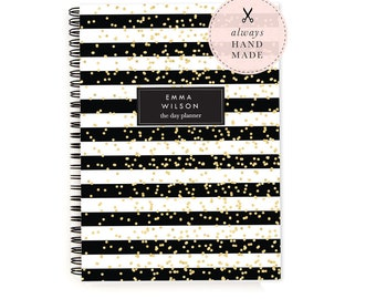 Daily Planner Personalized – Dateless Planner Spiral Bound, Glitter Stripe Planner A5