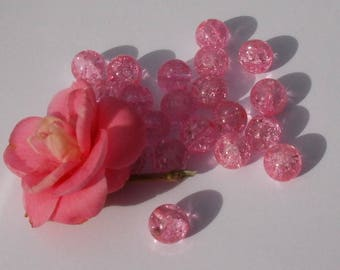 160 pink set 20 crackled glass beads 10 mm