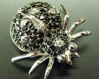 Stunning Sterling Silver Black Crystal Spider Vintage Pendant
