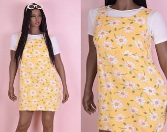 90s Daisy Print Dress/ Large/ 1990s/ Tank/ Sleeveless