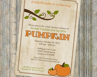 pumpkin baby shower invitations, baby shower invitation with pumpkins, Digital, Printable file