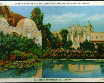 Vintage Linen Botanical Building palace of Foods and Beverages San Diego Exposition Unused 1935