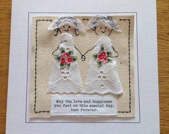 Special embroidered Lesbian Gay bride and bride wedding card. Mrs and Mrs unique wedding card Handmade textile card. LGBT wedding card