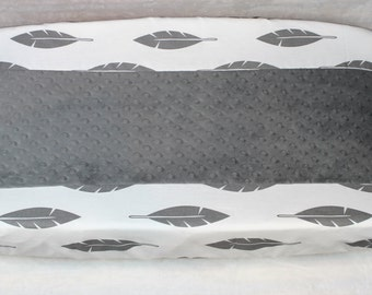 Gray Feather and Gray Minky Changing Pad Cover