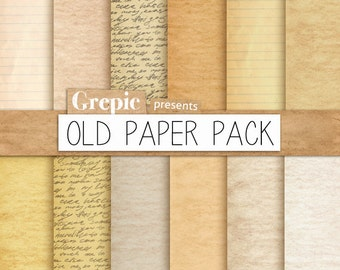 """Old paper digital paper pack: """"OLD PAPER PACK"""" with vintage papers and old notebook papers for scrapbooking, invites, cards"""