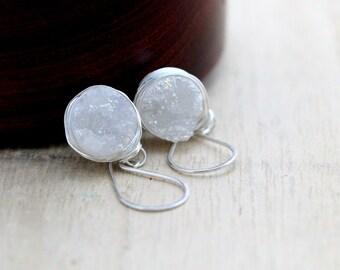 Druzy Silver Earrings, White Quartz Dangle Bezel Wrapped Drops in Sterling Silver, Gemstone Fashion