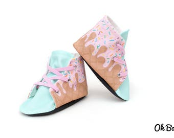 Strawberry Ice Cream Lace Up Baby Shoes