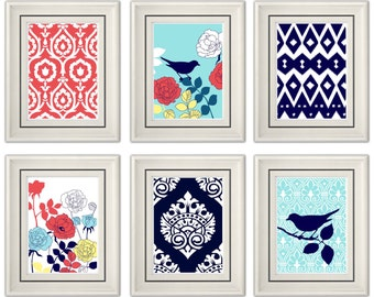 Set of Six Modern/Vintage Coral/Turquoise Wall Art - 8x11 Print Set - Home Decor - For Home (Unframed)
