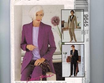 Misses Sewing Pattern McCalls 9645 Misses Palmer Pletsch Jacket Pants Pantsuit Suit Size 16 Bust 38 UNCUT 1990s 90s