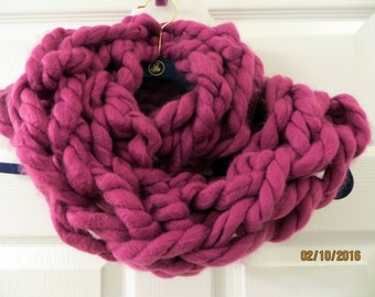 Super Chunky Arm Knit Magenta Infinity Scarf