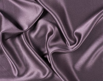 Aubergine Silk Crepe Back Satin, Fabric By The Yard