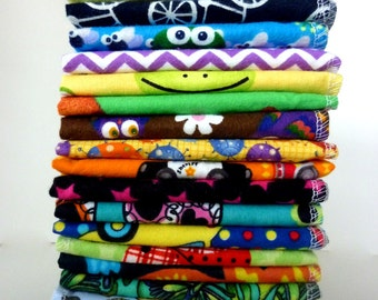 Kids Cloth Napkins 20 Mixed Lunch Box Napkins - Small Reusable Paper Towels - Boy Girl Neutral Choose Your Mix 9 x 10