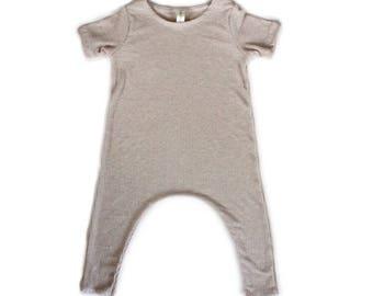 Oat Lightweight Rib Knit Harem Romper- Short Sleeve, baby onesie, solid romper