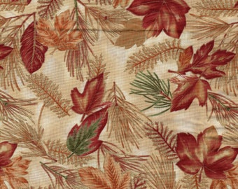 Gorgeous Autumns Charm Fabric Metallic Leaves Hoffman 1.5 yard