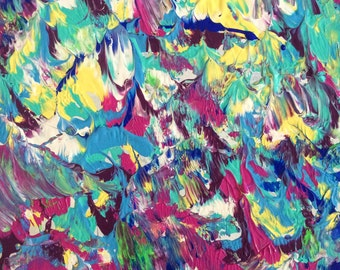 Digital Prints - Square Bright Coloured Modern Abstract Original Acrylic Painting Print by Breanna Deis