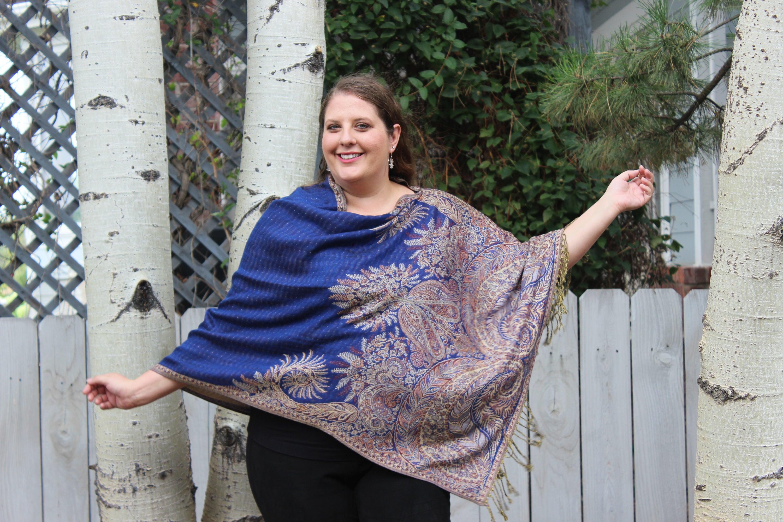 Royal Blue Bohemian Paisley Pashmina Poncho Shawl