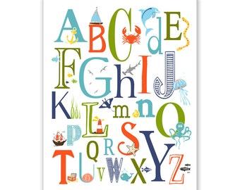Children's Wall Art / Nursery Decor Nautical Alphabet Poster - ABC alphabet typography 11x14 inch Poster Print