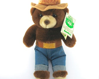 """Vintage SMOKEY THE BEAR, Plush Teddy, 14"""" Tall, 1985, Original Ear Tag, Three Bears, Forest Service, Collectible, Gift Idea, Excellent"""