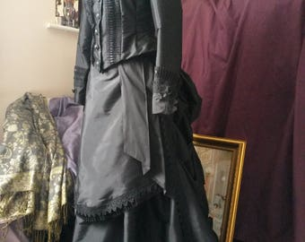 Victorian Mourning Gown, Made to Measurements, Goth Outfit, Steampunk Bustle Dress, Black Gown