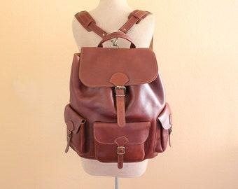 Vintage Brown Leather Backpack , Large Size Backpack