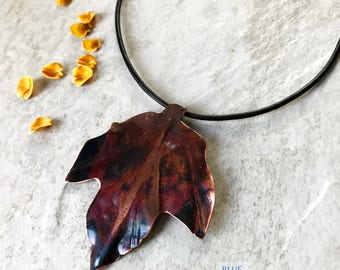 Copper Leaf necklace Copper necklace Rustic Maple Leaf necklace Fold formed leaf necklace OOAK Hammered copper Copper jewelry Torch Flamed