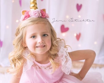 Gold and Pink Unicorn Headband, Princess Headband, Birthday Headband, Birthday Crown, Girls Headband