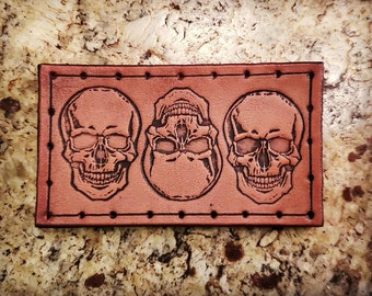 Leather Patch - 3 Skulls - Sew On Anything - hand made by American Made Upgrades