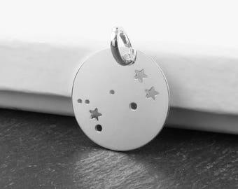 Sterling Silver Gemini Constellation Pendant 18mm