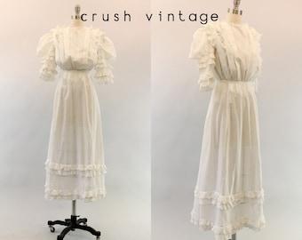 1910s Edwardian Dress XS /  Vintage Antique Lawn Dress /  Belle Amour Wedding Dress