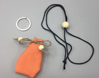 Coral Orange - Leather Amulet Bag
