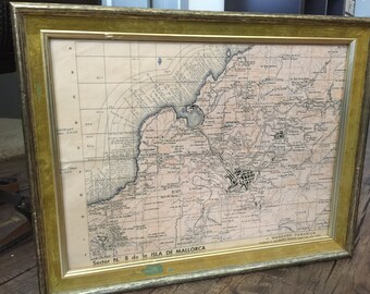 Vintage Antique Lathe repro of Map of Mallorca Majorca Spain print 1958 18x14