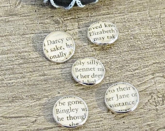 Jane Austen Button Set Pride and Prejudice -  Metal Shank Mr Darcy Elizabeth Bennet Bingley - Silver Craft DIY Supplies Sewing Crochet Round