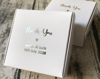 40x White Favor Boxes • Wedding Party Baby Shower Baptism Christening Silver Anniversary Gift Box • Personalised Silver Foil Gift Boxes