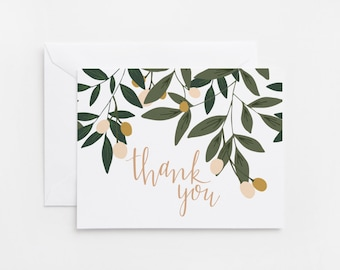 Thank you cards etsy hk thank you card set of 8 illustrated floral thank you cards with hand lettered calligraphy thecheapjerseys Images