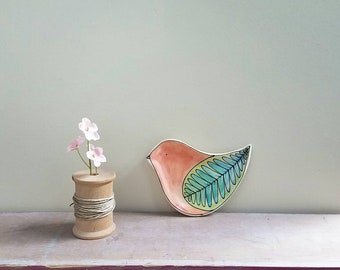 Small bird shape plate, orange and blue bird tray, bird decor