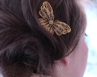 Single Golden Butterfly Bobby Pin, Gold Colored Butterfly, Butterfly Hair Accessories, Gold Butterfly, Large Butterfly Pin, Butterfly