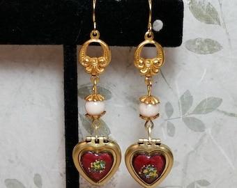 Romantic Gift, Heart Locket Earrings, Heart Earrings, Romantic Earrings, Red Hearts, Vintage Dresden, Guilloche, Lockets, Locket Jewelry