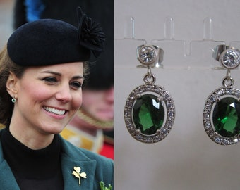 Kate Middleton Duchess Cambridge Inspired Replikate Emerald Green Oval Crystal Silver Drop Earrings
