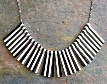 Black and white stripe statement necklace - laser cut acrylic necklace