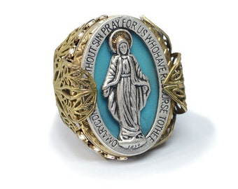 Queen of Miracles Virgin Mary Ring, Our Lady, Religious Jewelry, Catholic Jewelry, Madonna Ring, Catholic Gift, Inspirational Jewelry, R900