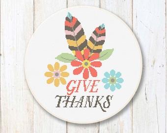 Give Thanks Cross Stitch Pattern, Cross Stitch Sampler, Thanksgiving Patterns, Thanksgiving Gift, Thanksgiving Home Décor #tg006