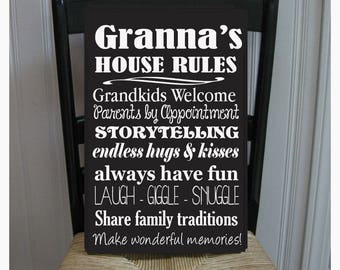 Granna's House Rules for Grandchildren with love Grandmother  Handpainted Wood Sign 16 x 10.5