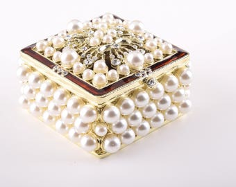 Gold Box with Pearls Trinket Box Faberge Style Decorated with Swarovski Crystals Unique Home Decor Handmade Gift
